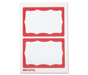 BAUMGARTENS 67642 Visitor Badge, Red Border, 100/BX, White/Red by Baumgartens