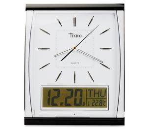 "Cardinal Brands, Inc 59130 Quartz Wall Clock, LCD Inset, 14-1/2""x11-3/4"", Black/Silver by Tatco"