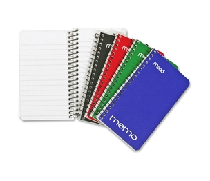 ACCO Brands Corporation 45534 Mead Memo Wirebound Notebook Asst 3x5 60 Sht Bulk by Mead