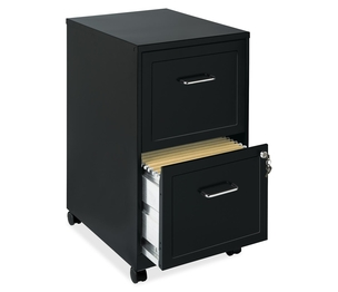 "Lorell Furniture 16872 Steel Mobile File Cabinet, 2-Dr, 14-1/4""X18""X24-1/2"", Bk by Lorell"