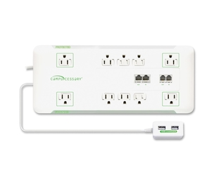 Compucessory 25134 Slim Surge Protector,10-Outlet, 3420J, 6' Cord,1800W, WE by Compucessory