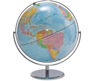 "Advantus Corporation 30502 World Globe, Blue Oceans, 12""x16""x13"", Silver Base by Advantus"