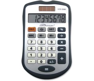 8 Digit Hand Held Calculator, Dark Grey by Compucessory