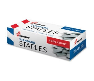 "National Industries For the Blind 7510002729662 Standard Staples, 210/Strip, 1/2""x1/4"", 5,000/BX, Silver by SKILCRAFT"