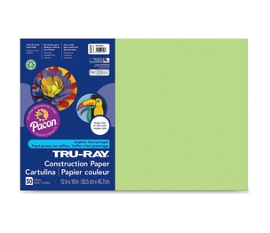 "PACON CORPORATION 103037 Construction Paper, 76Lb., 12""X18"", 50/Pk, Chartreuse by Tru-Ray"