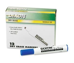 DIXON TICONDEROGA COMPANY 92108 Dry-Erase Markers, Wedge Tip, 12/Dz, Blue by Ticonderoga