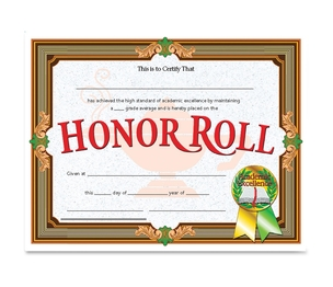 Flipside Products, Inc VA612 Honor Roll Certificate, 30/Pk, Ast by Flipside