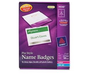 Avery 74540 Badge Holder Kit w/Laser/Inkjet Insert, Top Load, 3 x 4, White, 100/Box by AVERY-DENNISON