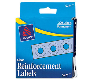"Avery 05721 Dispenser Pack Hole Reinforcements, 1/4"" Diameter, Clear, 200/Pack by AVERY-DENNISON"