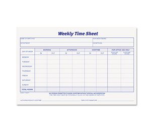 Tops Products 30071 Weekly Time Sheets, 5 1/2 x 8 1/2, 100/Pad, 2/Pack by TOPS BUSINESS FORMS
