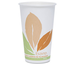 SOLO OF16PL-J7234 Bare PLA Hot Cups, White w/Leaf Design, 16oz, 300/Carton by SOLO CUPS