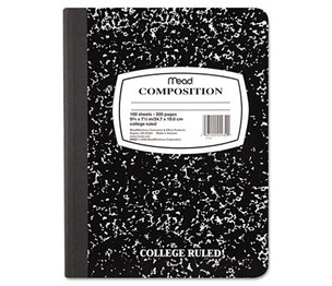 MeadWestvaco 0993209 Square Deal Composition Book, College Rule, 9 3/4 x 7 1/2, White, 100 Sheets by MEAD PRODUCTS