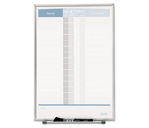 Quartet 33703 Vertical Matrix Employee Tracking Board, 11 x 16, Aluminum Frame by QUARTET MFG.