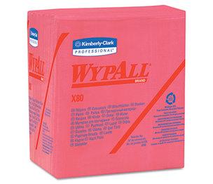 Kimberly-Clark Corporation 41029 X80 Wipers, 1/4-Fold, HYDROKNIT, 12 1/2 x 13, Red, 50/Box, 4 Boxes/Carton by KIMBERLY CLARK