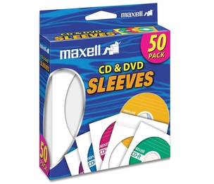 Maxell 190135 CD/DVD Sleeves, Clear Window, 50/PK, White by Maxell
