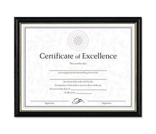 DAX MANUFACTURING INC. N17981BT Two-Tone Document/Diploma Frame, Wood, 8 1/2 x 11, Black w/Gold Leaf Trim by DAX MANUFACTURING INC.
