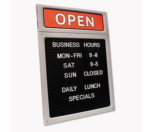 Consolidated Stamp Manufacturing Company 098221 Message/Business Hours Sign, 15 x 20 1/2, Black/Red by CONSOLIDATED STAMP