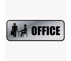 Consolidated Stamp Manufacturing Company 098209 Brushed Metal Office Sign, Office, 9 x 3, Silver by CONSOLIDATED STAMP