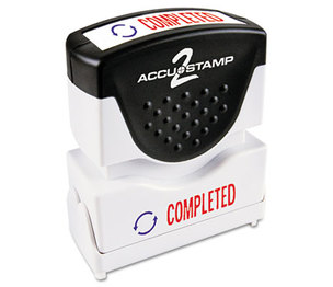 Consolidated Stamp Manufacturing Company 035538 Accustamp2 Shutter Stamp with Microban, Red/Blue, COMPLETED, 1 5/8 x 1/2 by CONSOLIDATED STAMP