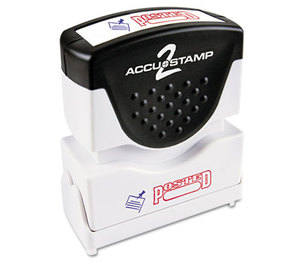 Consolidated Stamp Manufacturing Company 035521 Accustamp2 Shutter Stamp with Microban, Red/Blue, POSTED, 1 5/8 x 1/2 by CONSOLIDATED STAMP