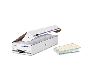 Fellowes, Inc 00706 STOR/FILE Storage Box, Check, Flip-Top Lid, White/Blue, 12/Carton by FELLOWES MFG. CO.