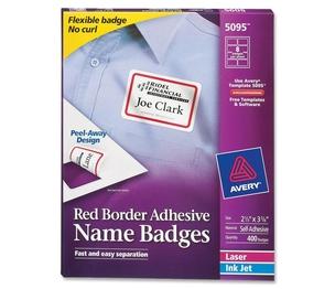 "Avery 5095 Laser/Inkjet Name Badges,2-1/3""x3-3/8"",400/BX,RD Border by Avery"