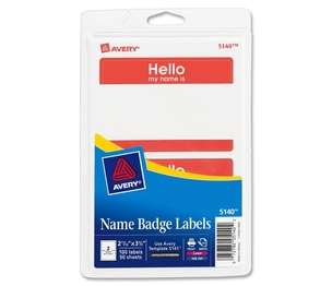 "Avery 5140 Name Badge Labels,""Hello""/Name,2-1/3""x3-3/8"",100/PK,Red by Avery"