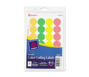 """Avery 5474 Removable Labels, 3/4"""" Round,1008/PK, Neon AST by Avery"""