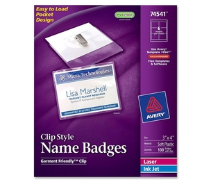 Avery CC10-4C Name Badges,w/ Clip,Top Load,3