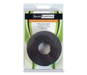 "BAUMGARTENS 66100 Adhesive Magnetic Tape, Flexible, 1""x100' Roll, Black by Baumgartens"