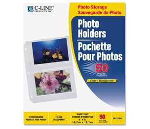 "C-Line Products, Inc 52564 Photo Holders, Side Load, Holds 4 Photos, 4""x6"", 50/BX, CL by C-Line"