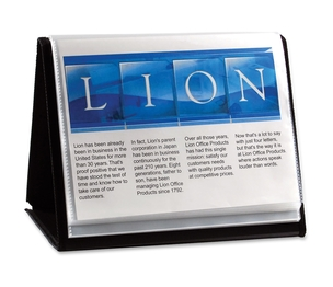"""Lion Office Products, Inc 39008-H Display Book, Horizontal Easel, 11""""x8-1/2"""", Black by Lion"""