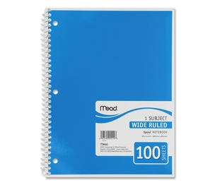 """ACCO Brands Corporation 05514 Spiral Notebook,1-Subject,Wide Rule,100 Sht,10-1/2""""x8"""",AST by Mead"""
