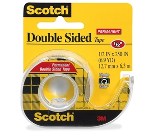 """3M 136 Double-sided Tape,w/Dispenser,Permanent,1/2""""x250"""",CL by Scotch"""