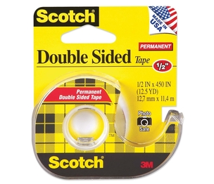 """3M 137 Double-sided Tape,w/Dispenser,Permanent,1/2""""x450"""",CL by Scotch"""