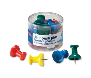 """OFFICEMATE INTERNATIONAL CORP. 92902 Giant Pushpins, 1-1/2"""",12/PK, Clear Tub, Assorted by OIC"""