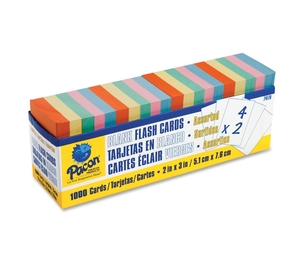 """Blank Flash Cards, 2""""x3"""", 1000/PK, Assorted Colors by Pacon"""
