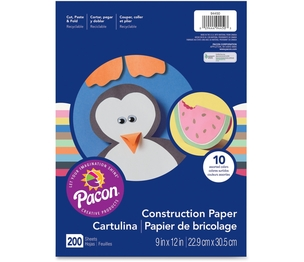 "PACON CORPORATION 94450 Economy Construction Paper, 9""x 12"", 200/PK, Assorted by Pacon"