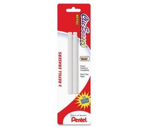 PENTEL OF AMERICA ZER2BP-K6 Eraser Refill, Nonabrasive, 2/PK, White by Pentel