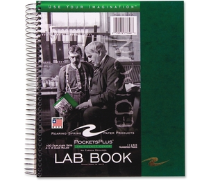 """Roaring Spring Paper Products 77646 Lab Book, Tri Pocket Cover, Wirebound, 8-1/2""""x11"""", 100 Shts by Roaring Spring"""