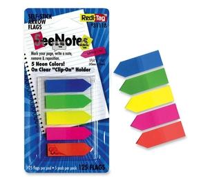 "Redi-Tag Corporation 31118 Write-On Arrow Flags, Plain, 1-3/4""x15/32"", 125/PK, AST Neon by Redi-Tag"