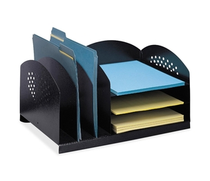 "Safco Products 3167BL Steel Desk Organizer, 16-1/4""x11-1/4""x8-1/4"", Black by Safco"
