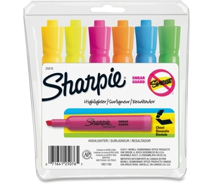 Sanford, L.P. 25076 Tank Highlighter, Chisel Point, 6-Colour/Set, Assorted by Sharpie