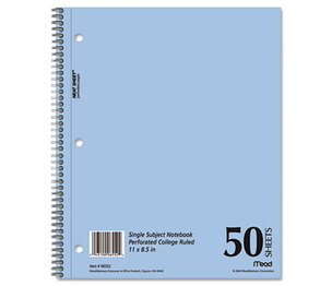 MeadWestvaco 0655206 DuraPress Cover Notebook, College Rule, 8 1/2 x 11, White, 50 Sheets by MEAD PRODUCTS