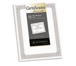 Southworth Company, Agawam, MA CTP1W Premium Certificates, White, Fleur Silver Foil Border, 66 lb, 8.5 x 11, 15/Pack by SOUTHWORTH CO.