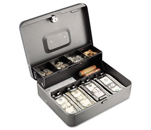 MMF INDUSTRIES 2216194G2 Tiered Cash Box with Bill Weights, 12 in, Cam Key Lock, Charcoal by MMF INDUSTRIES