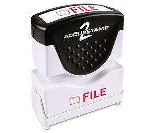 Consolidated Stamp Manufacturing Company 035576 Accustamp2 Shutter Stamp with Microban, Red, FILE, 5/8 x 1/2 by CONSOLIDATED STAMP