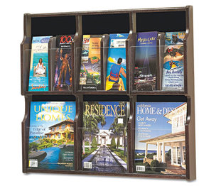 Safco Products 5703MH Expose Adj Magazine/Pamphlet Six Pocket Display, 29-3/4w x 26-1/4h, Mahogany by SAFCO PRODUCTS