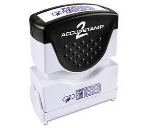 Consolidated Stamp Manufacturing Company 035573 Accustamp2 Shutter Stamp with Microban, Blue, ENTERED, 1 5/8 x 1/2 by CONSOLIDATED STAMP