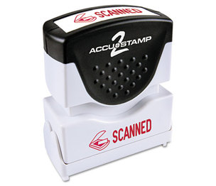 Consolidated Stamp Manufacturing Company 035605 Accustamp2 Shutter Stamp with Microban, Red, SCANNED, 1 5/8 x 1/2 by CONSOLIDATED STAMP
